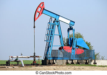 Pump jack on field oil and gas industry