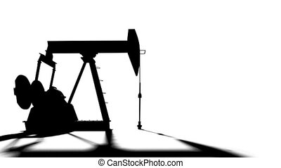 Pump jack on white background. Oil Industry  3d animation