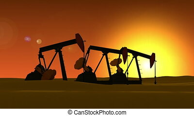 Pump jack silhouette and timelapse sky. 3d animation