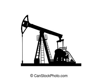 pump jack silhouette isolated on white background