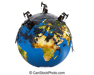 Pump jacks and oil spill over planet earth isolated on white...