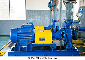 Pump motor in Water Treatment Plant of Thailand.