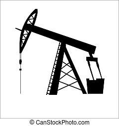 pump, olja, silhuett, jack