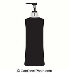 Pump Plastic Bottle  Silhouette vec