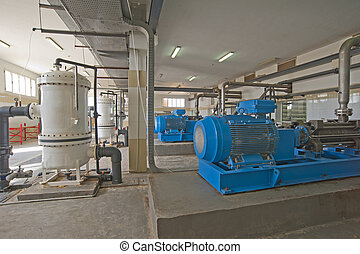 Pump room with large machinery - Pump room in a desalination...