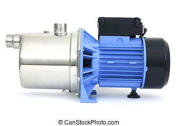 Pump with an electric motor of blue color