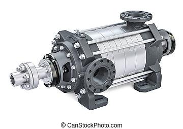 pumpa, odstředivý, překlad, multistage, vodorovný, 3