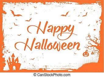 pumpa, text, halloween, hus, apelsin, slagträ, gräns, lycklig