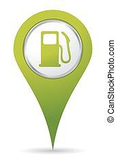 pumpe, gas, lokaliseringen, ikon
