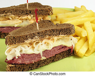 Pumpernickel Reuben - Reuben sandwich with corned beef, ...