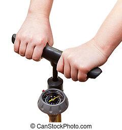 pumping, от, руководство, воздух, насос, with, давление,...