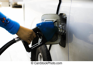 Pumping gas in tank