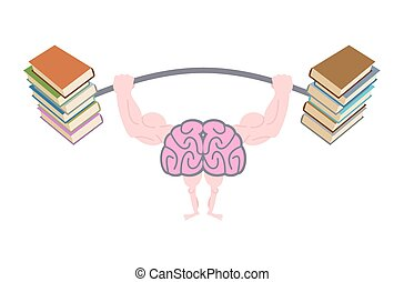 Pumping up brains. Strong brain with big muscles are engaged in post from books. Fitness fo mind. Brain and books. Use reading to the person. Vector illustration