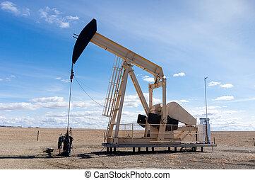 pumpjack, 中に, 田園, アルバータ, カナダ