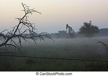 pumpjack, brouillard