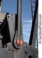 Closeup of pumpjack gears