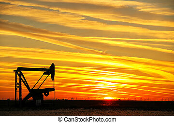 Pumpjack in the oil field at sunset