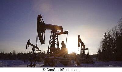 Pumpjack, oil pumping unit against a beautiful forest landscape