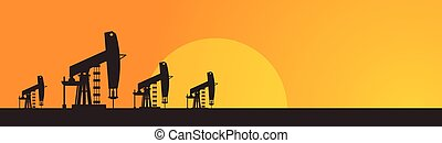 Pumpjack Oil Rig Crane Platform Banner Flat Vector...