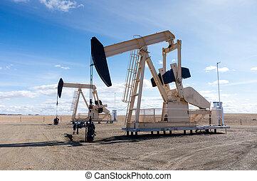 pumpjacks, 中に, 田園, アルバータ, カナダ