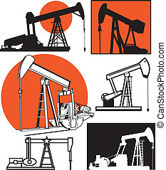 Pumpjacks - Oil pump, clip art collection