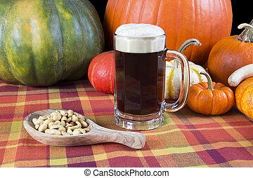 oktoberfest harvest ale beer mug with fall seasonal decoration