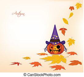 pumpkin and autumn background