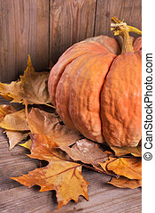 Pumpkin and autumn leaves over old wooden background