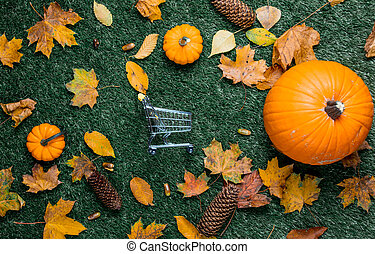 Pumpkin and autumn season leaves with shopping cart