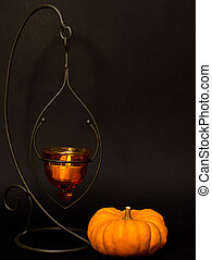 pumpkin and candle halloween studio