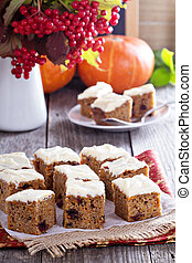 Pumpkin and carrot cake with cream cheese and orange glaze