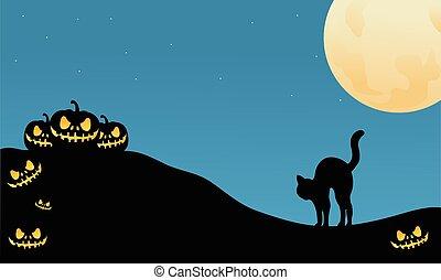 Pumpkin and cat halloween silhouette