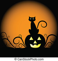 Pumpkin and Cat - Scary Halloween pumpkin and cat