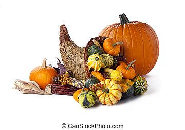 pumpkin and cornucopia - Shot of a pumpkin beside a wicker ...