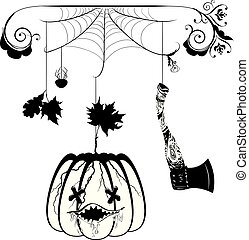 Pumpkin and hatchet - Cracked cartoon pumpkin and hatchet...