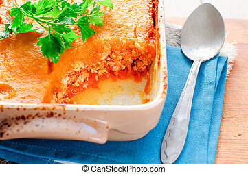 Pumpkin and Minced Meat Bake / close up