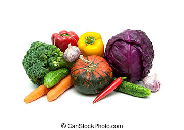 pumpkin and other vegetables on a white background
