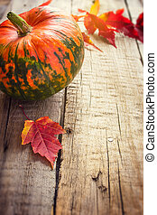 Pumpkin and purple leaves  on an old wooden background, tinted