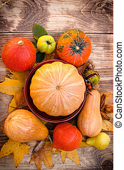 Pumpkin and squash - harvest on table, seasonal fruit and vegetable