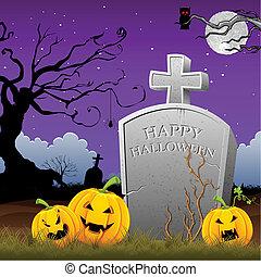Pumpkin around Tomb Stone - illustration of pumpkin around...