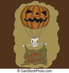 Pumpkin Balloon with skull. vector illustration