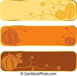 Pumpkin banners with gold rim - Three seasonal banners of...