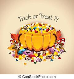 Pumpkin Basket full of Candies - Vector illustration of a...