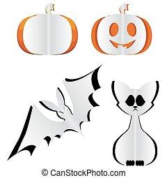 Pumpkin, bat and cat.