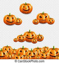 Pumpkin Border Set Transparent Background