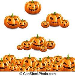 Pumpkin Border Set White Background
