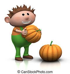 pumpkin boy - smiling little boy with large pumkins - 3d...