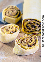 Pumpkin buns with cinnamon and nuts.