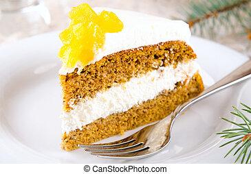 Pumpkin cake with jam