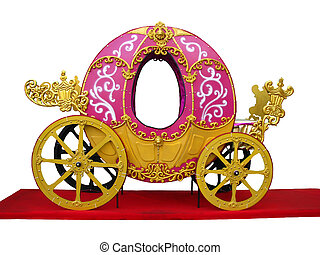 Pumpkin carriage for Cinderella or Halloween isolated over...